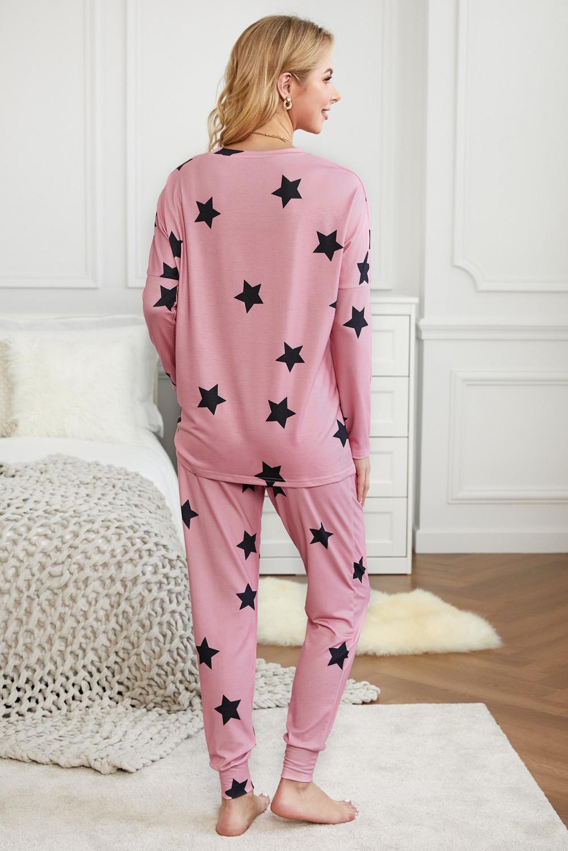 粉色星星印花长袖家居运动服两件套 LC62318