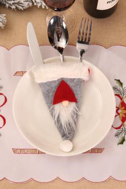 灰色圣诞餐具袋
