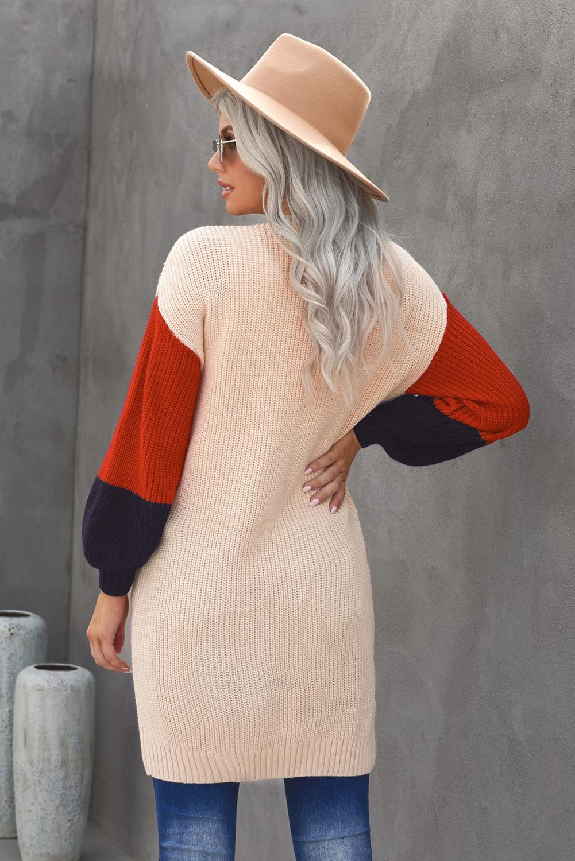 杏色柔软温暖撞色长袖口袋宽松舒适开襟衫 LC271034