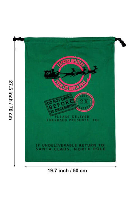 绿色圣诞麋鹿礼品帆布束口袋 LC01740
