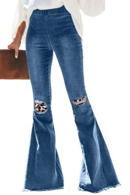 蓝色复古时髦豹纹补丁喇叭牛仔裤