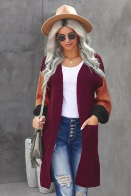 酒红色柔软温暖撞色长袖口袋宽松舒适开襟衫