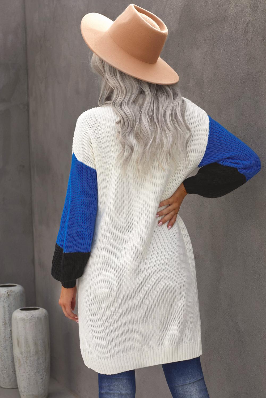白色柔软温暖撞色长袖口袋宽松舒适开襟衫 LC271034