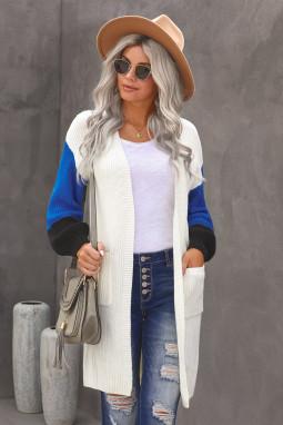 白色柔软温暖撞色长袖口袋宽松舒适开襟衫