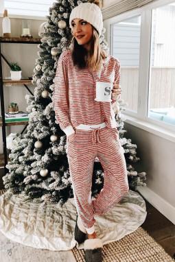 红色条纹圣诞节长袖家居睡衣套装