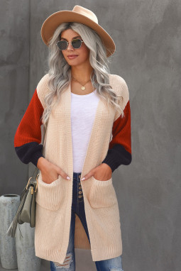 杏色柔软温暖撞色长袖口袋宽松舒适开襟衫