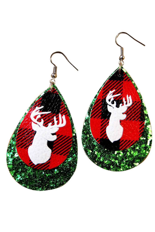 绿色圣诞节麋鹿亮片水滴耳环 LC01746