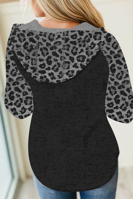 拼色豹纹长袖黑色连帽衫 LC2533236