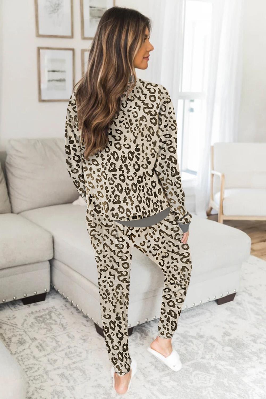 时尚豹纹长袖宽松休闲家居服两件套 LC451432