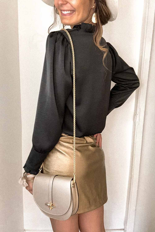 黑色皱褶V领纽扣式优雅法式衬衫 LC255200