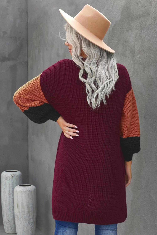 酒红色柔软温暖撞色长袖口袋宽松舒适开襟衫 LC271034