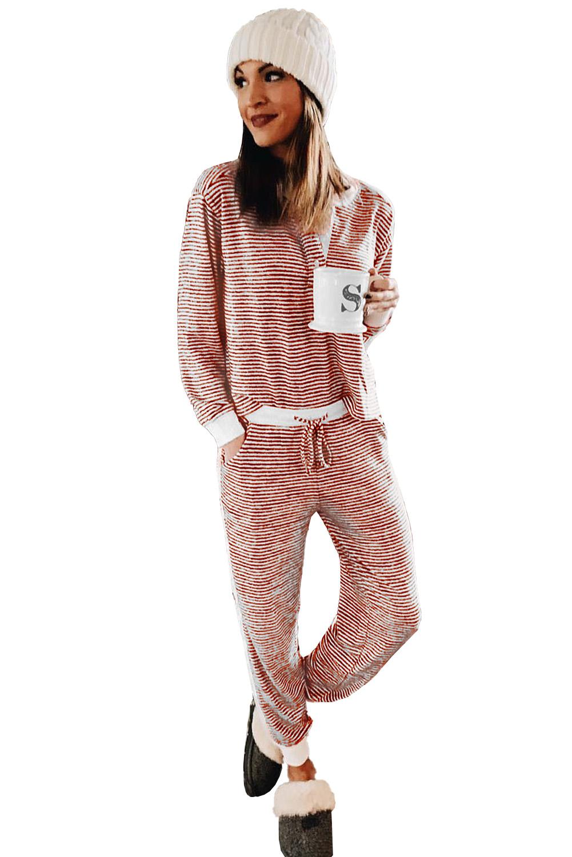 红色条纹圣诞节长袖家居睡衣套装 LC451399