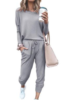灰色星星印花长袖家居运动服两件套