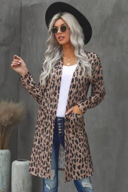 棕色豹纹长袖宽松舒适女士开襟衫 LC254112