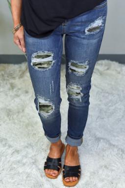 迷彩补丁磨损仿旧修身蓝色牛仔裤