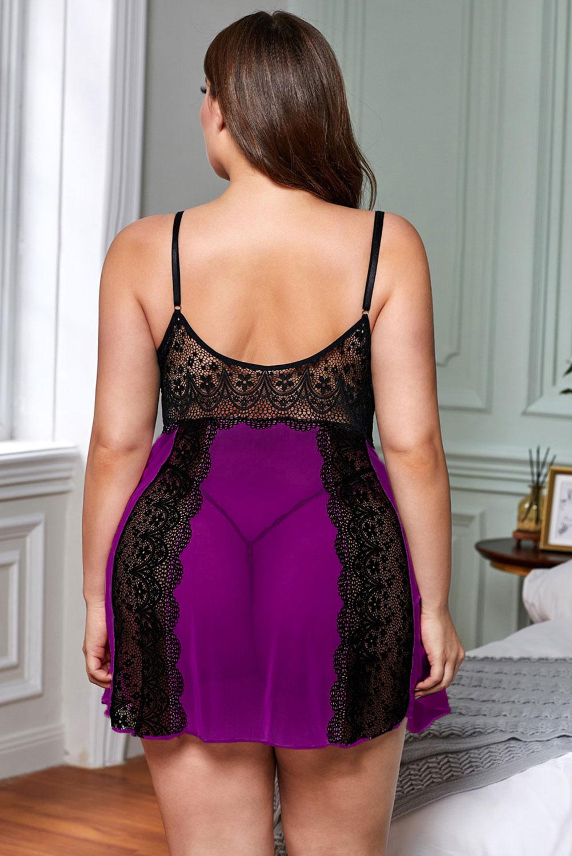 紫色透视薄纱拼接精美蕾丝加大码娃娃装 LC31319