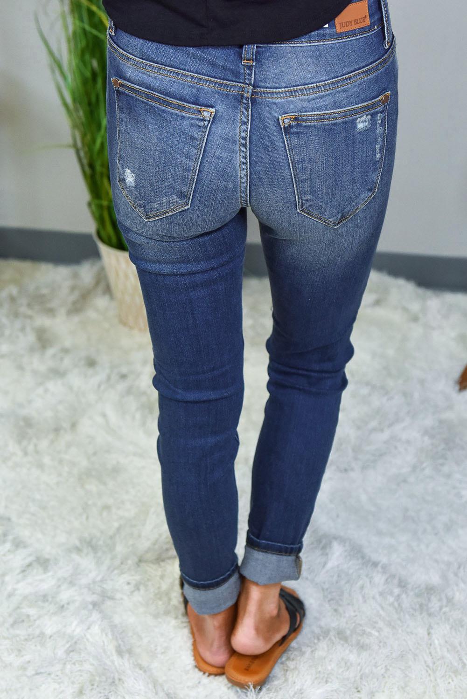豹纹补丁磨损仿旧修身蓝色牛仔裤 LC78256