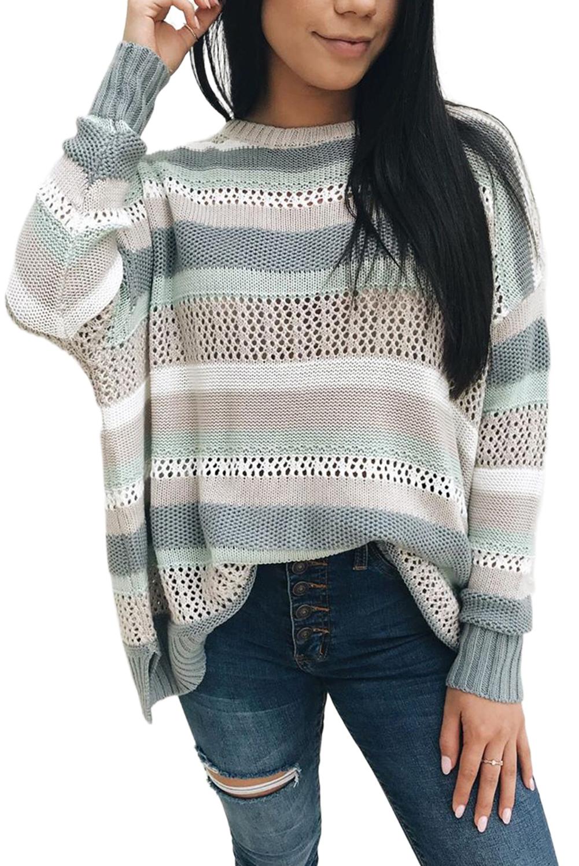 拼色条纹圆领长袖舒适镂空针织毛衣 LC272106