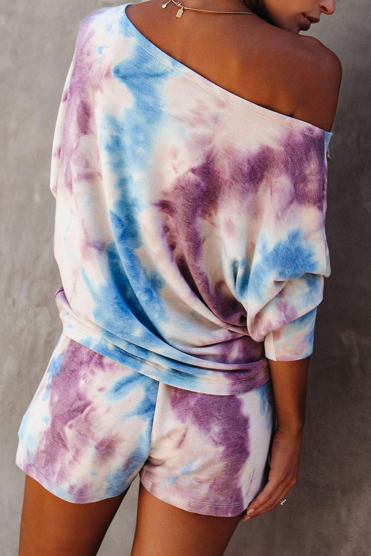紫色扎染蝙蝠袖针织上衣抽绳短裤家居睡衣套装 LC62455