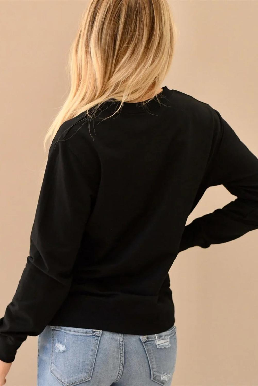 黑色圆领字母标语印花简约长袖套头卫衣 LC2532930