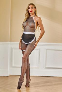 黑色蕾丝鱼网挂脖露背连体袜带围裙