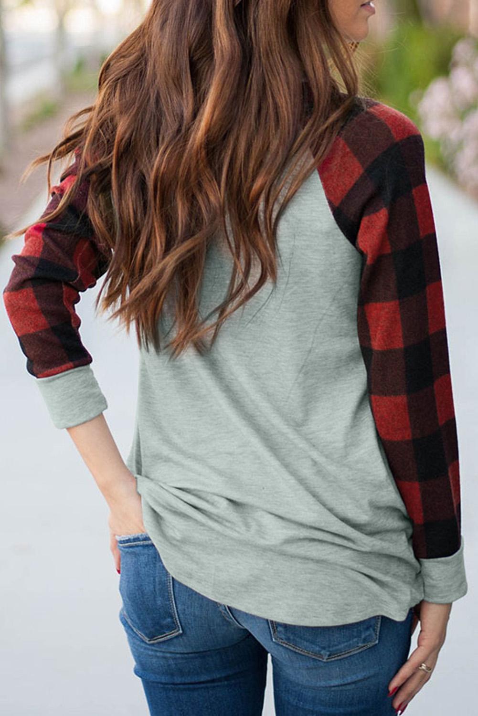 红色格纹长袖灰色圆领休闲卫衣 LC2532215