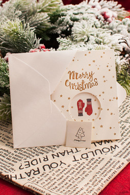 手套图案圣诞节贺卡