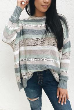 拼色条纹圆领长袖舒适镂空针织毛衣
