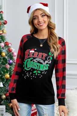 经典格纹拼接长袖圣诞快乐黑色舒适套头衫 LC2511860