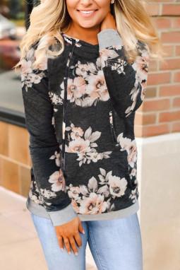 百搭袋鼠口袋优雅花卉长袖套头连帽衫