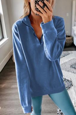蓝色宽松休闲拉链领长袖套头卫衣