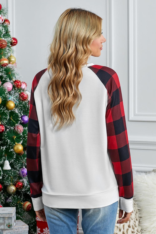 红色格纹长袖白色圆领休闲卫衣 LC2532215