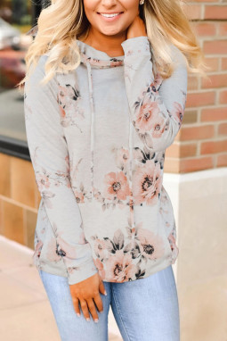 时尚袋鼠口袋优雅花卉长袖套头连帽衫
