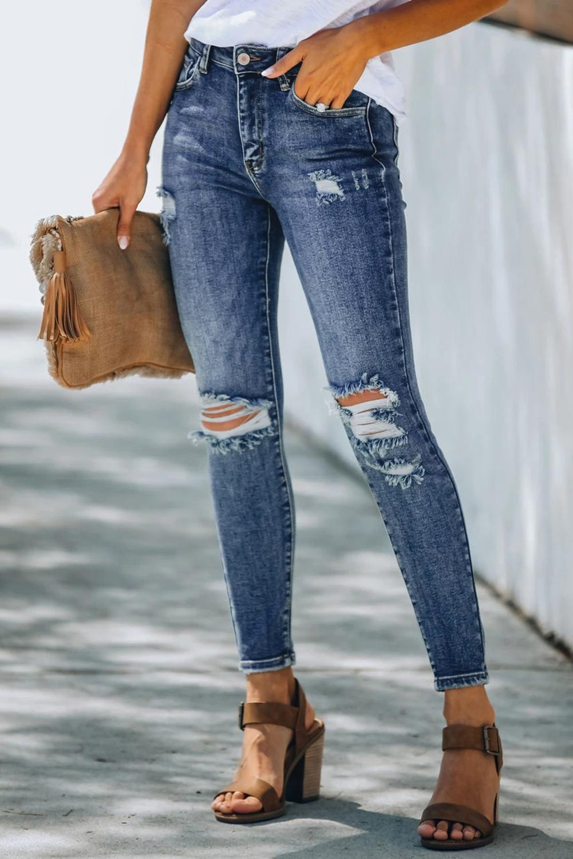 高腰仿旧破洞修身牛仔裤 LC78026