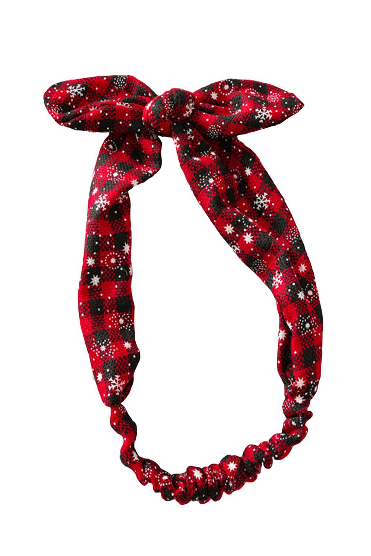 可爱格子圣诞节印花蝴蝶结发带 LC01696