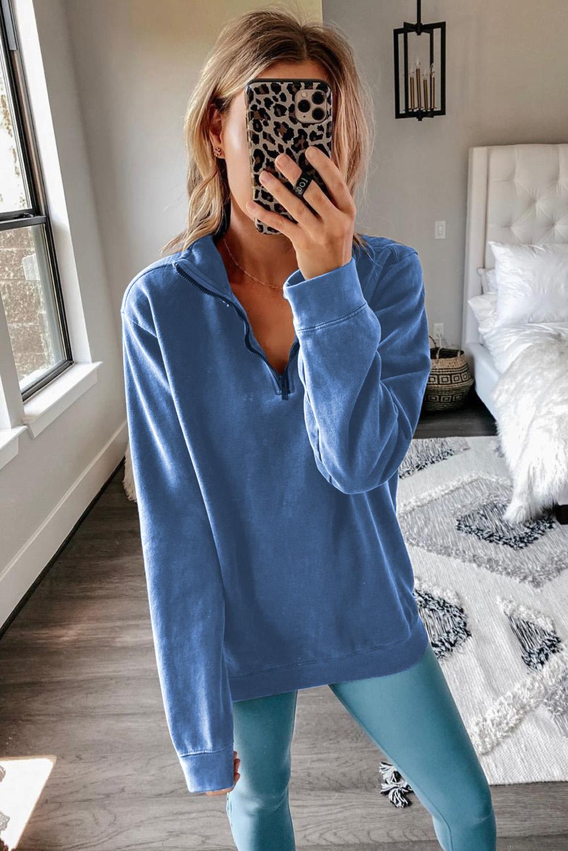 蓝色宽松休闲拉链领长袖套头卫衣 LC2512898