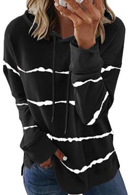 黑色侧面开叉扎染条纹抽绳连帽衫