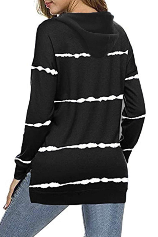 黑色侧面开叉扎染条纹抽绳连帽衫 LC2532855