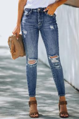 高腰仿旧破洞修身牛仔裤