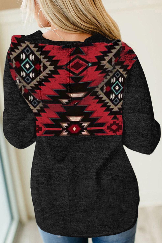 黑色部落几何印花按扣领口时尚套头连帽衫 LC2532208