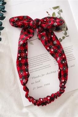 可爱格子圣诞节印花蝴蝶结发带