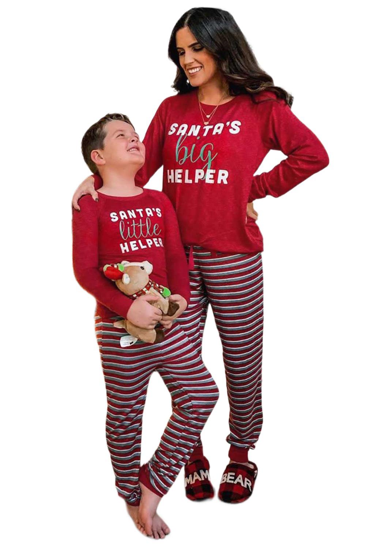 红色长袖圣诞字母条纹长裤妈妈款假日居家休闲服套装 LC451069