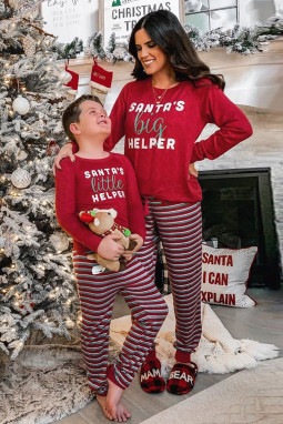 红色长袖圣诞字母条纹长裤妈妈款假日居家休闲服套装