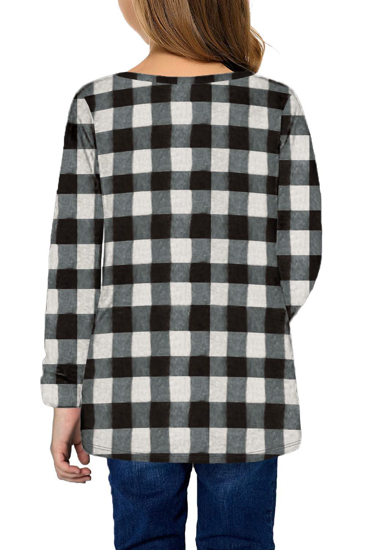 黑白格子圆领扭结下摆宽松长袖舒适女童上衣 TZ25144