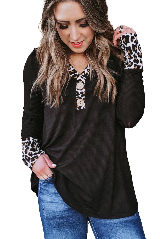 时尚豹纹拼接罗纹针织黑色长袖女士上衣 LC2521795