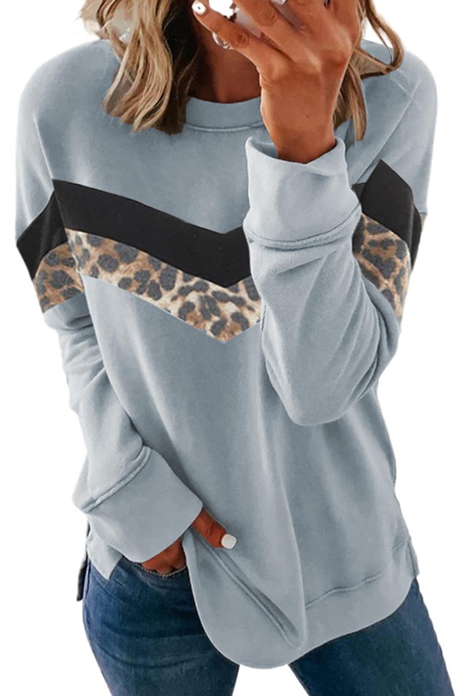灰蓝色圆领长袖豹纹拼色舒适女士卫衣 LC2533801
