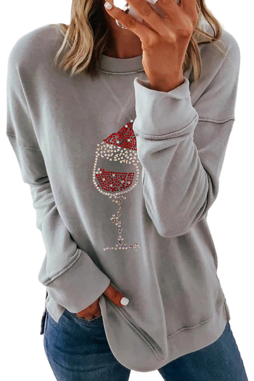 灰色落肩长袖时尚圣诞印花休闲套头衫 LC2534017