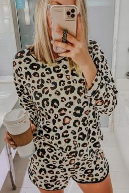 女士圆领长袖上衣和短裤豹纹休闲居家睡衣套装
