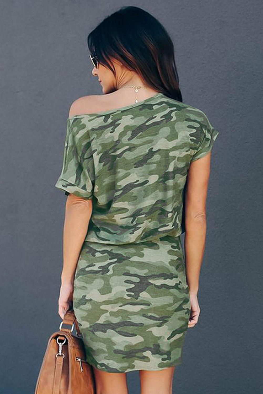 绿色迷彩单斜肩短袖宽松休闲迷你连衣裙 LC223362