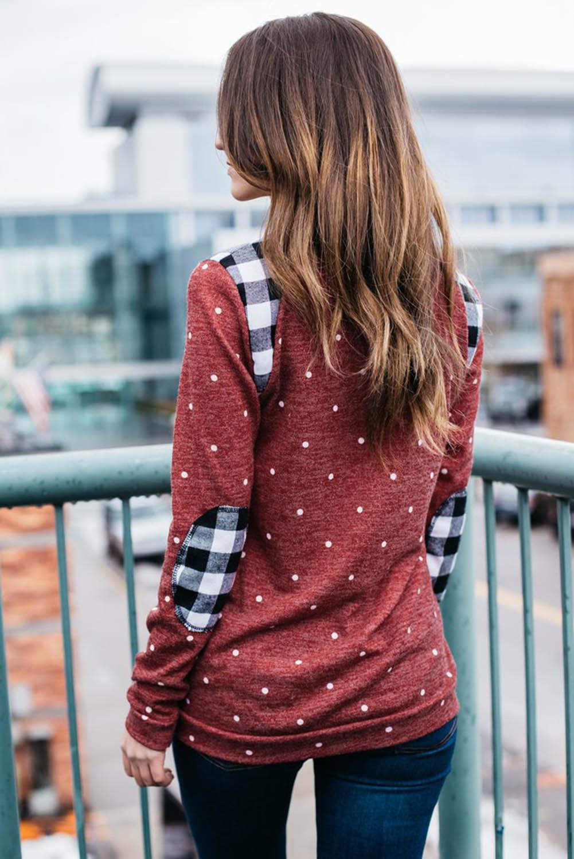 红色长袖波点格子补丁温暖舒适女士卫衣 LC2532759